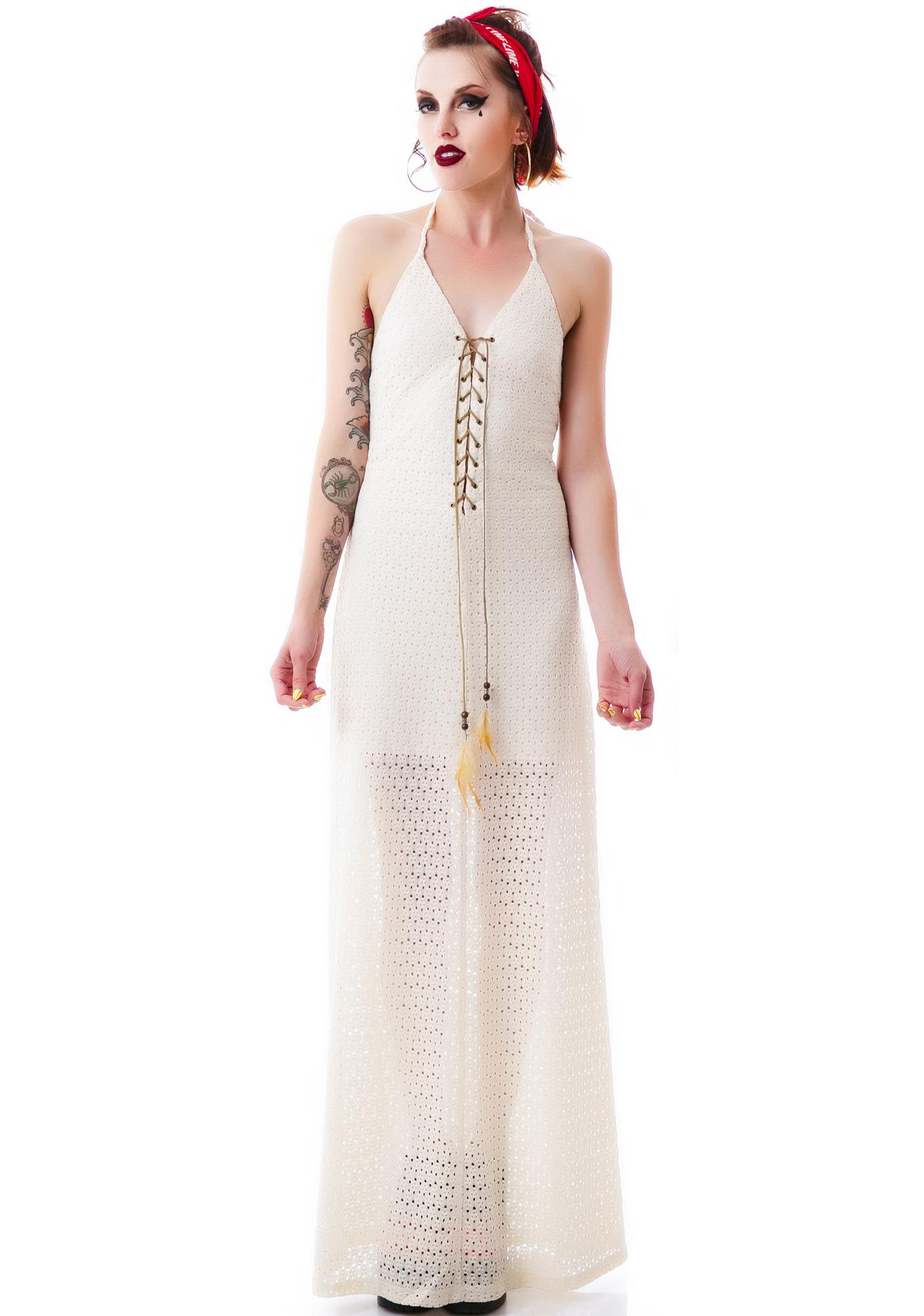 Native Festival Maxi Halter Dress