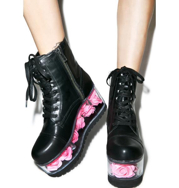 Y.R.U. X Dolls Kill G.I. Rose Platform Boots