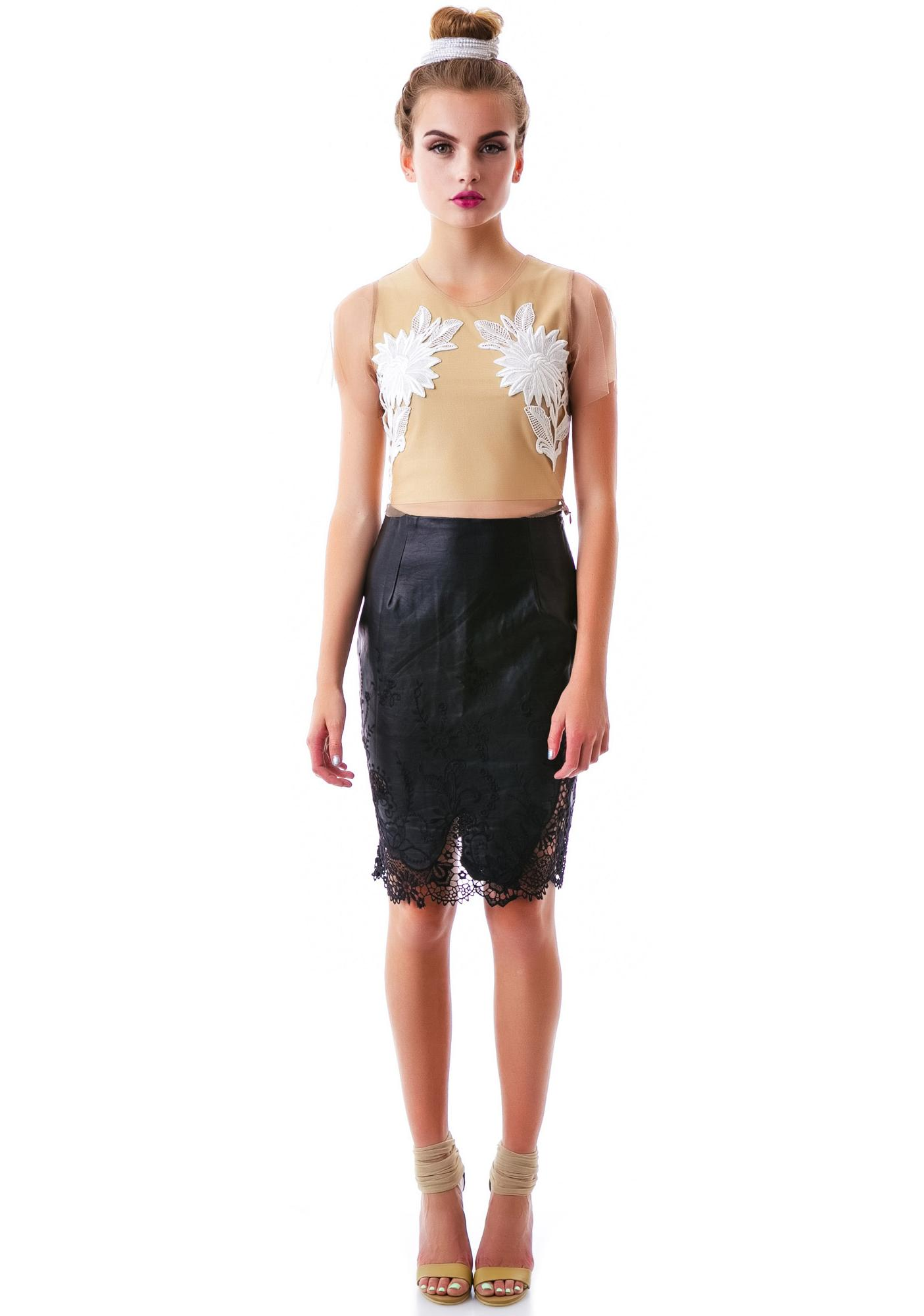 The Curse Lace Veggie Leather Skirt