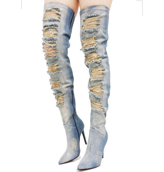 Privileged Matheson Denim Thigh-High Boots