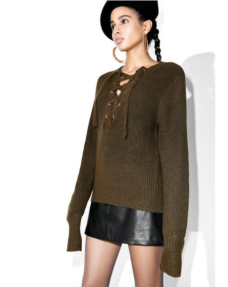 Feelin' Yew Lace Up Sweater