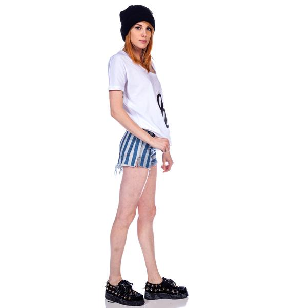 One Teaspoon Navy Stripe Romeos Shorts