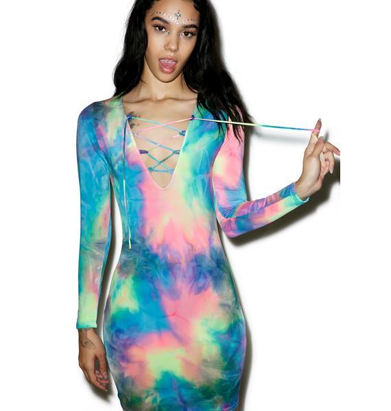 Vera's Eyecandy Acid Dreams Lace Up Dress