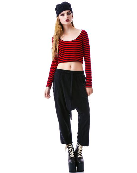 Menace Striped Crop Top