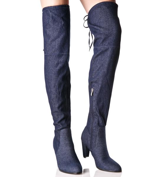 Denim Silencer Thigh-High Boots
