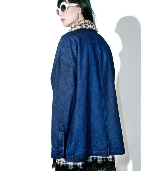 Lazy Oaf Leopard Print Denim Jacket