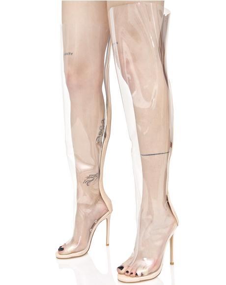 Clear Thigh High Peep-Toe Boot