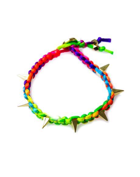Suzie Pyramid Spikes Neon Satin Cord Bracelet
