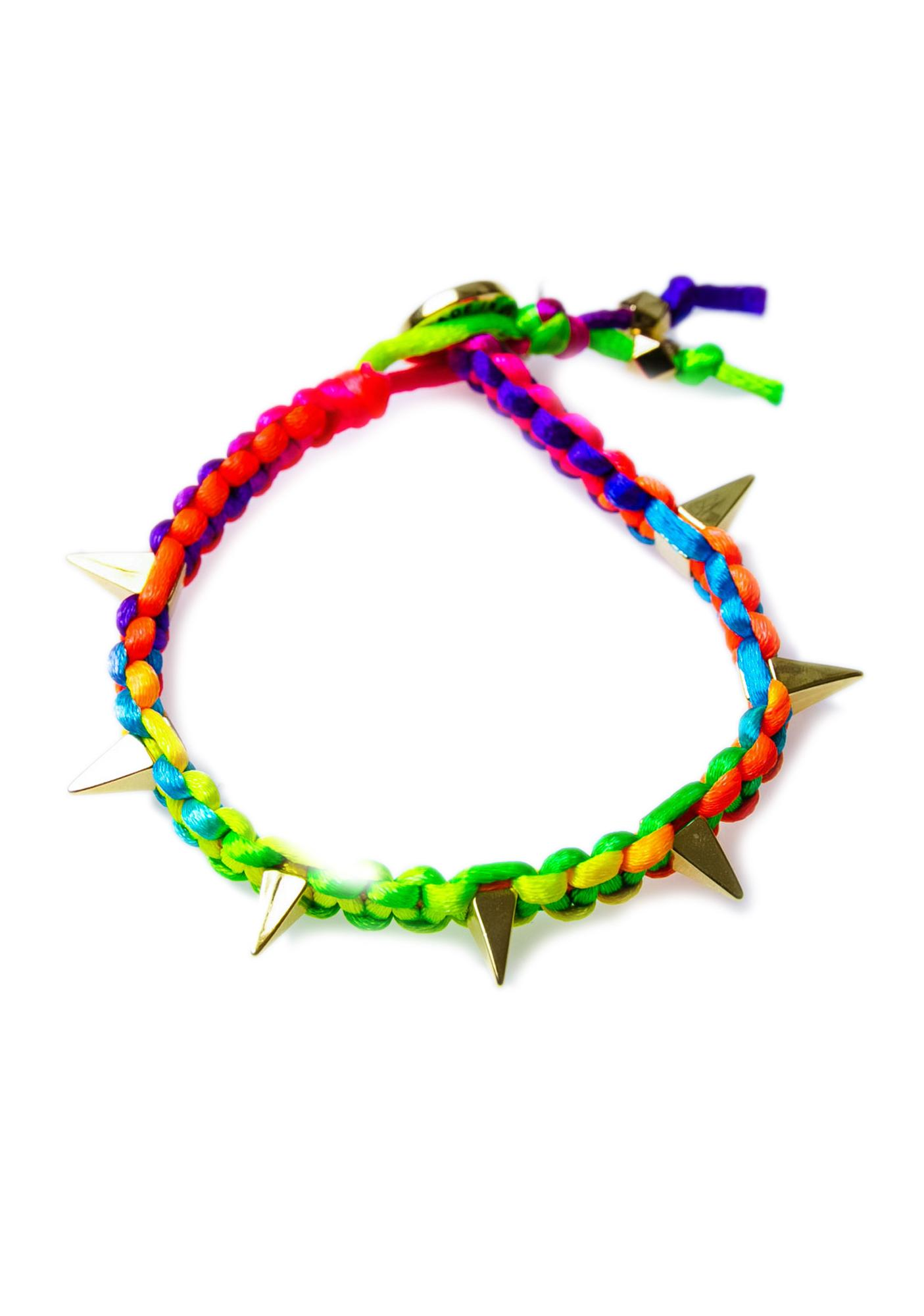 Ettika Suzie Pyramid Spikes Neon Satin Cord Bracelet
