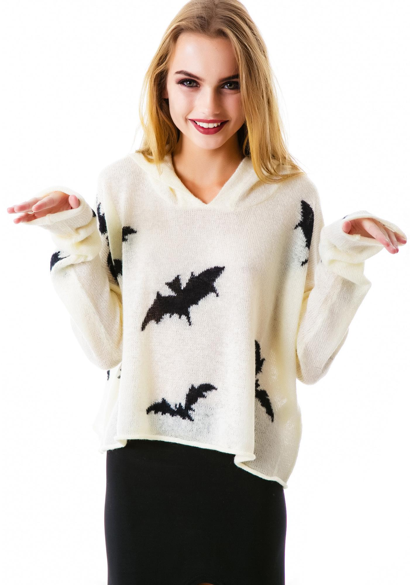 Wildfox Couture Bats Hooded Billy Sweater