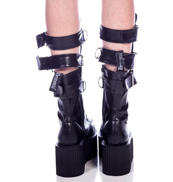 Demonia 3-Buckle Calf Creeper Boots