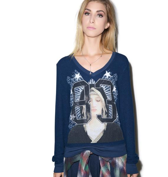 Wildfox Couture Varsity Angel V-Neck Baggy Beach Jumper