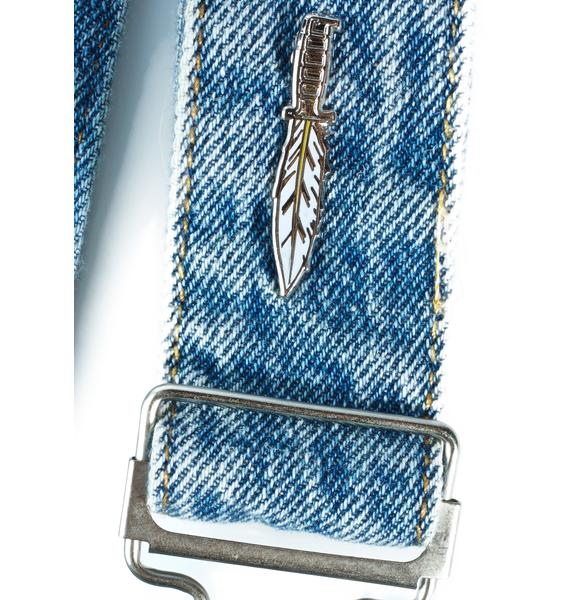 No Hours Feather Knife Pin