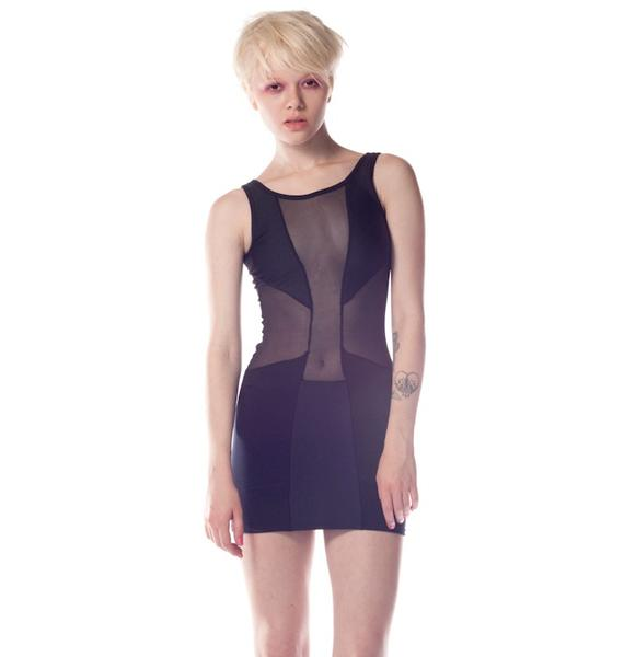 Cross Mesh Panel Dress
