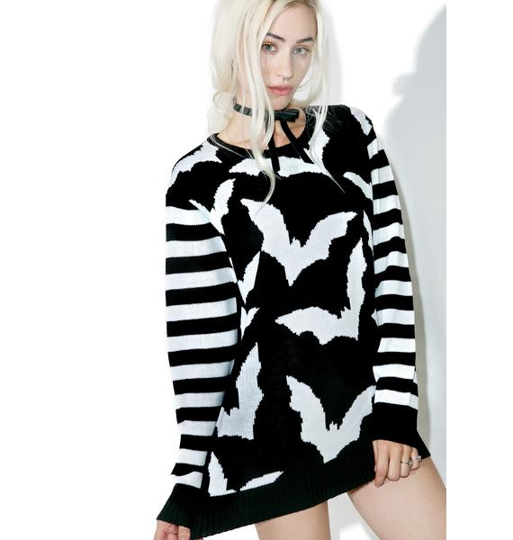 Current Mood Bat Stripe Sweater