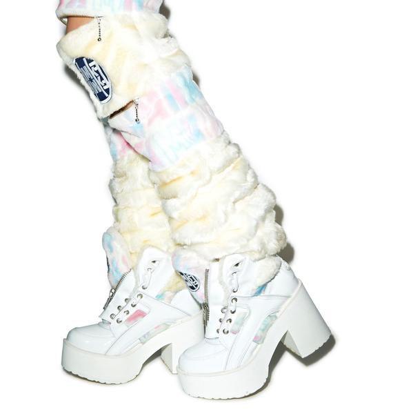 Maria ke Fisherman X Buffalo Platform Pastel Fur Boots