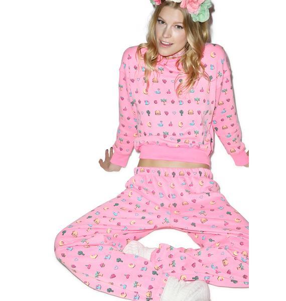 Wildfox Couture Pixelated Emoji Easy Sweatpants