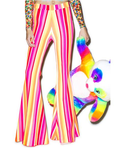 Groovy Neon Stripe Bell Bottoms