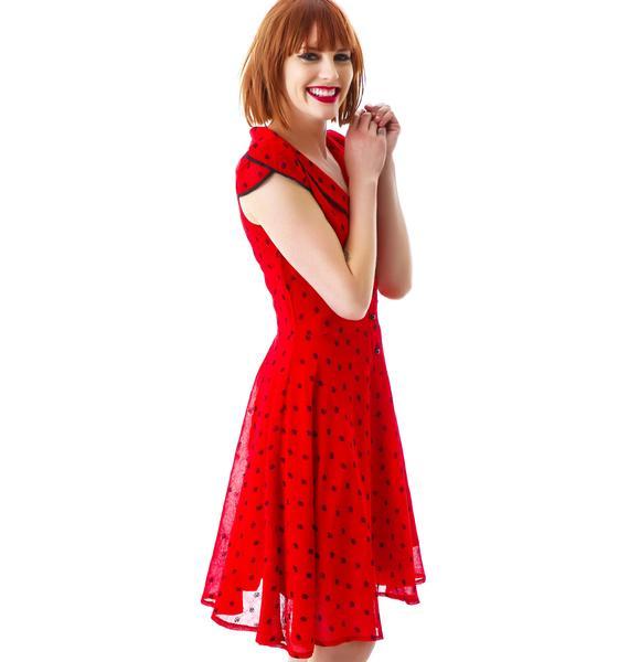 Adore Rose Dotted Chiffon Dress