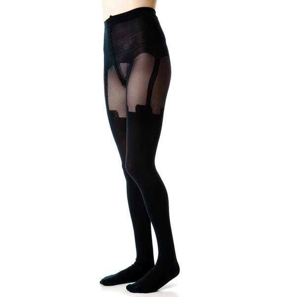 House of Holland x Pretty Polly Mesh Super Suspender Tights