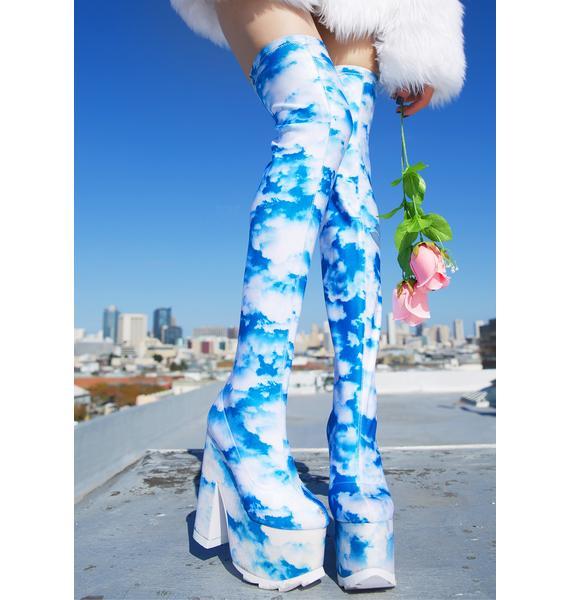 Y.R.U. X Dolls Kill Dreamer Thigh High Boots
