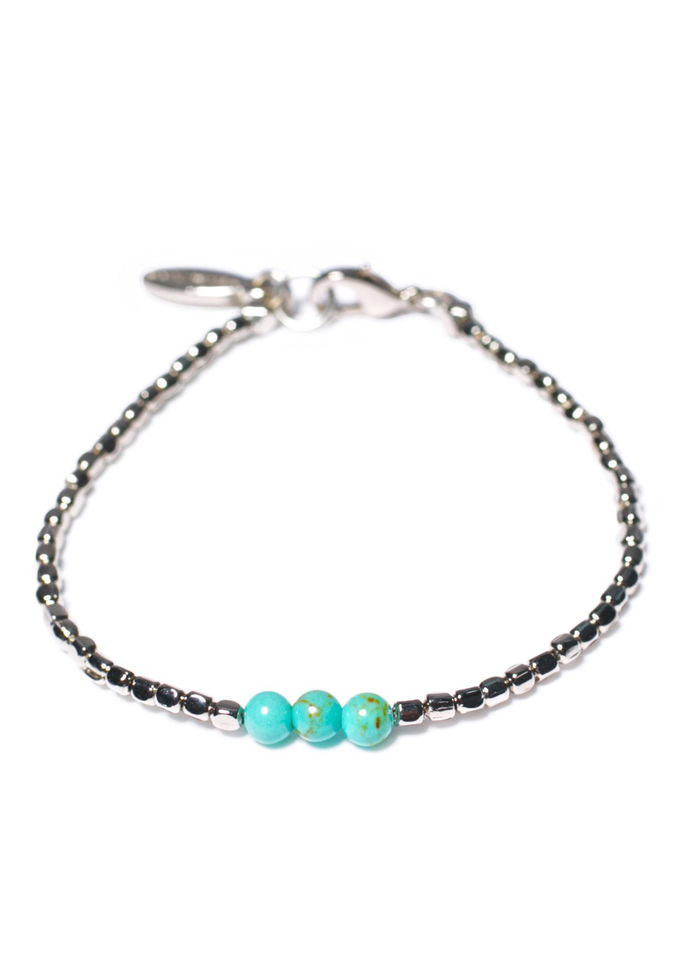 Ettika Triple Turquoise Bead Silver Bracelet