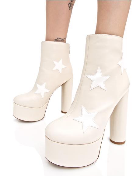Nude Cloud Star Platform Boots