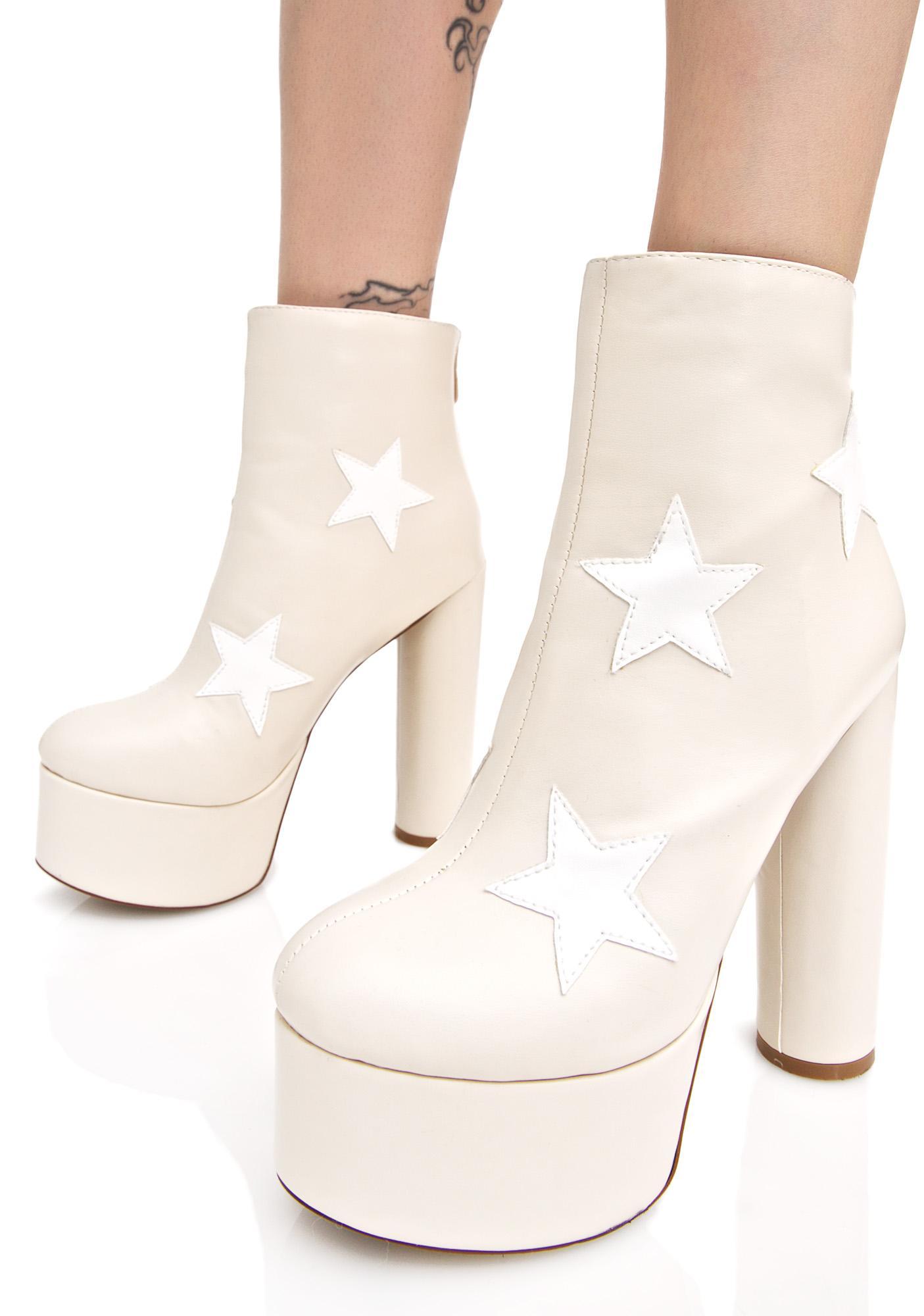 Public Desire Nude Cloud Star Platform Boots