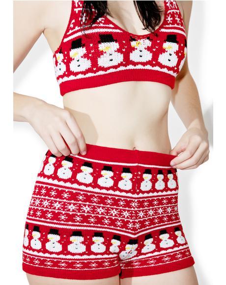 Snowman Knit Shorts