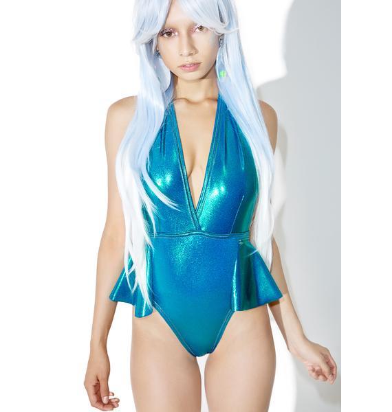 Jade Clark Aqua Peplum One Piece