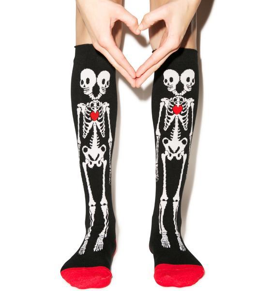Too Fast Siamese Skeleton Rolled Knee Socks