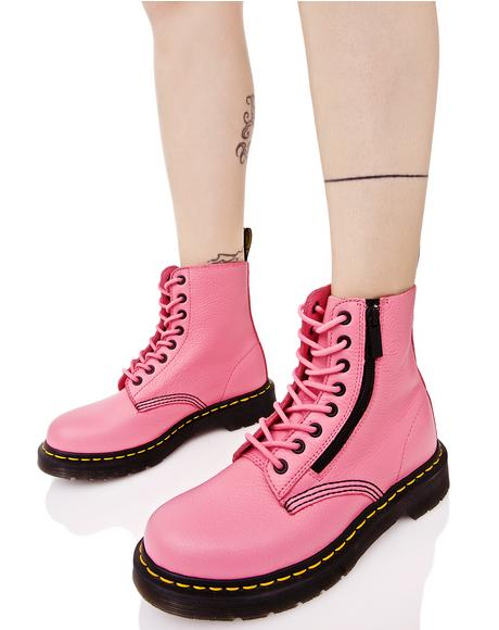 Pink Zippered Pascal 8 Eye Boots