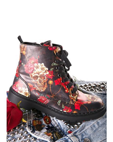 Skull & Roses Ealing Boots