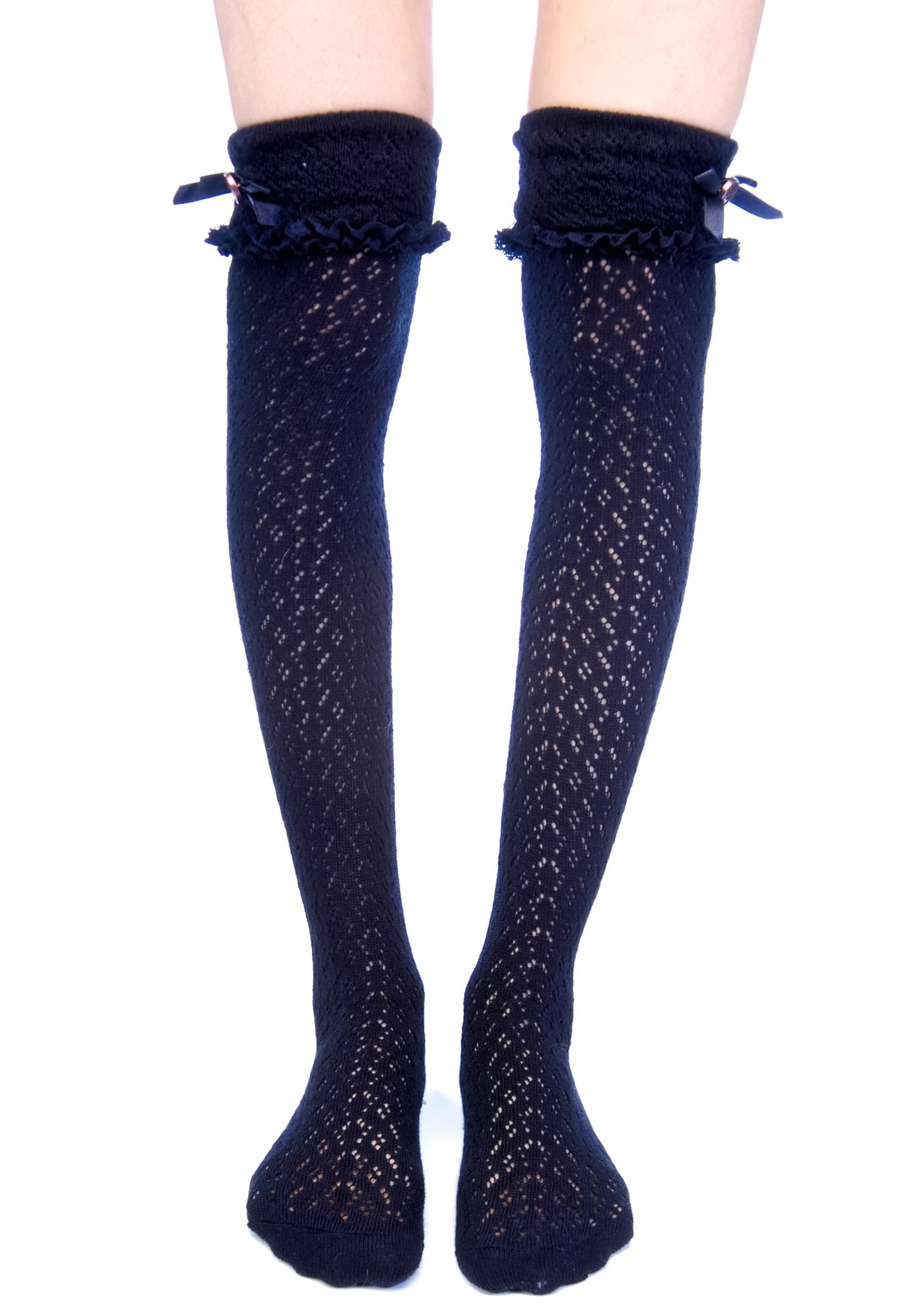 Lip Service Ribbon Knee High Socks