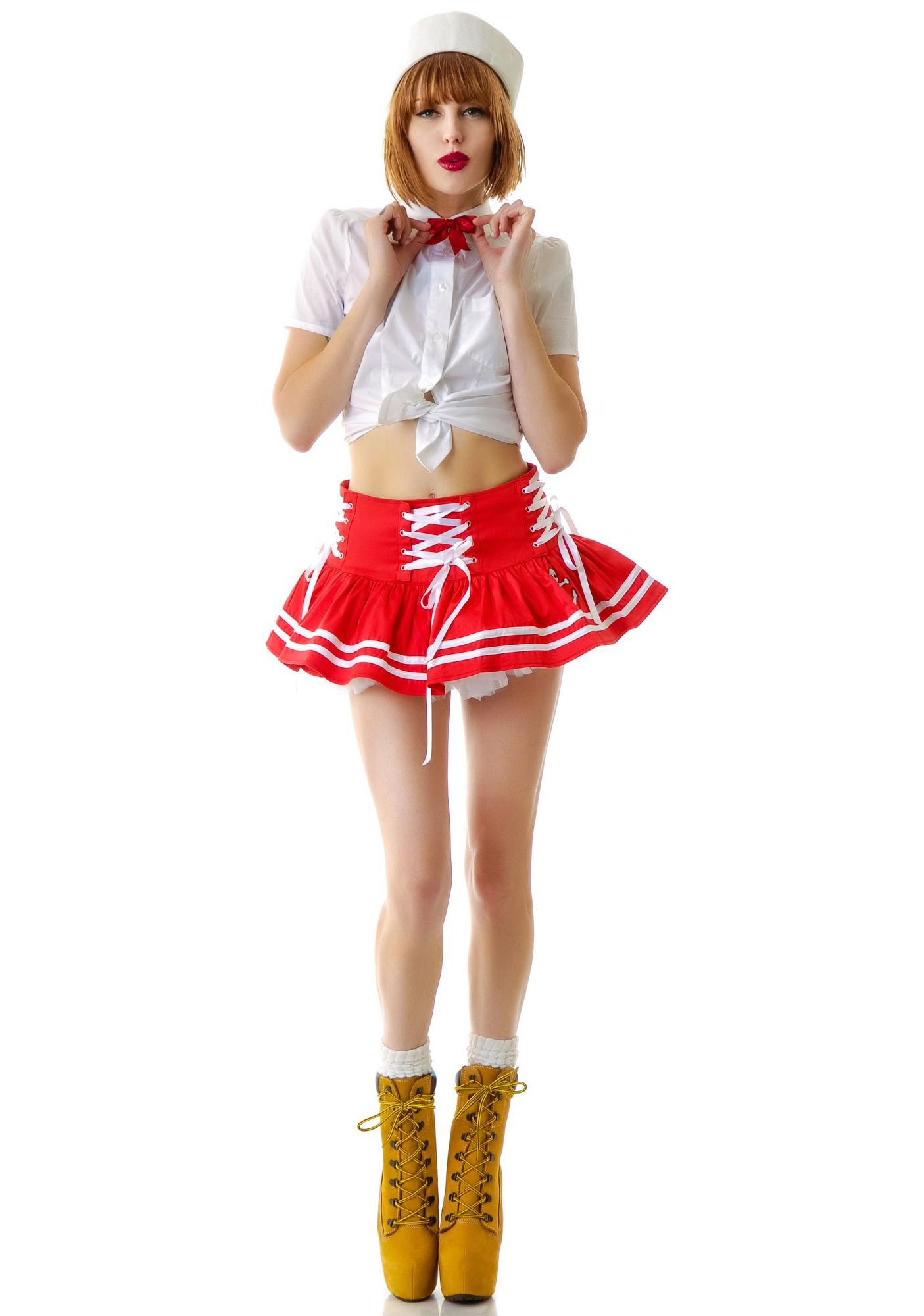 Hell Bunny Motley Nautical Sailor Mini Skirt