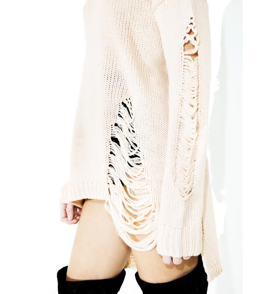 Bed Of Roses Shredded Sweater Tunic