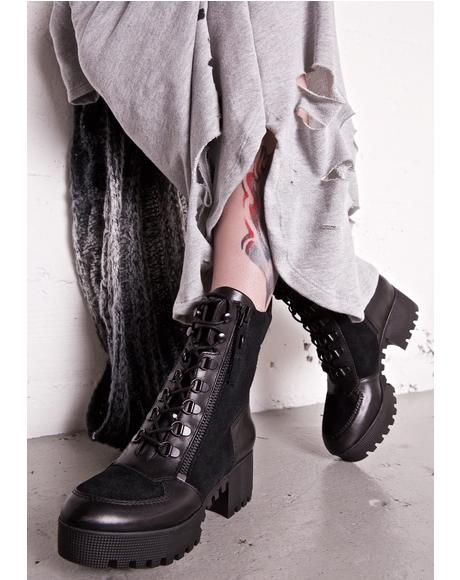 Ashen Phoenix Lace-Up Combat Boots