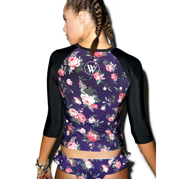 Wildfox Couture Gypsy Flowers Crop Rash Guard