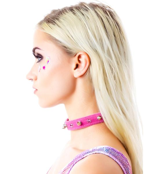 Club Exx Spiked Out Velvet Rhinestone Choker