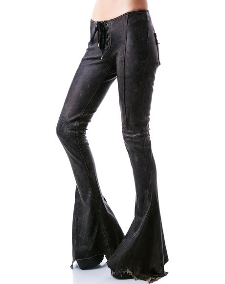 Leather Road Warrior Lace Up Flare Pants