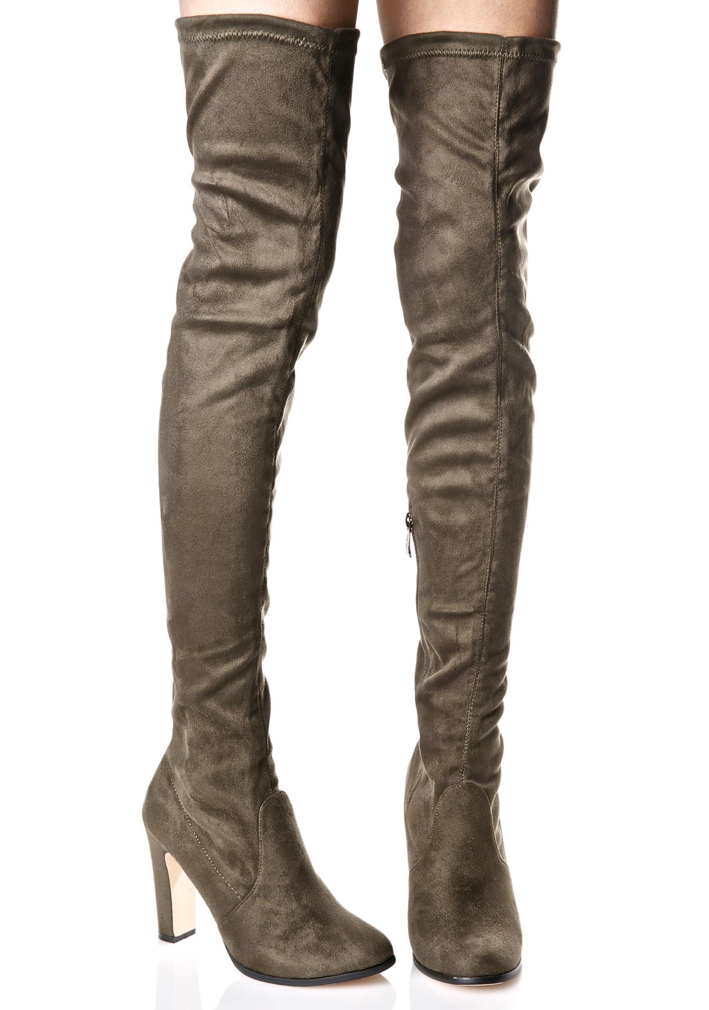 Olive Silencer Thigh-High Boots