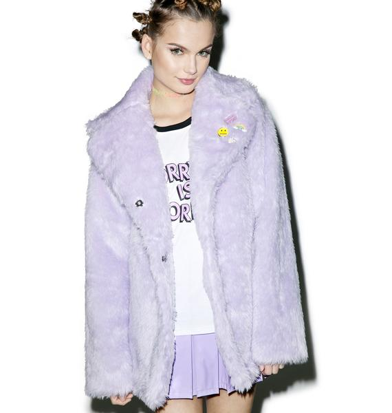 Local Heroes Pastel Faux Fur Coat