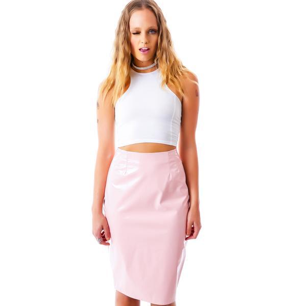 Coco Cream Sheen Veggie Leather Skirt