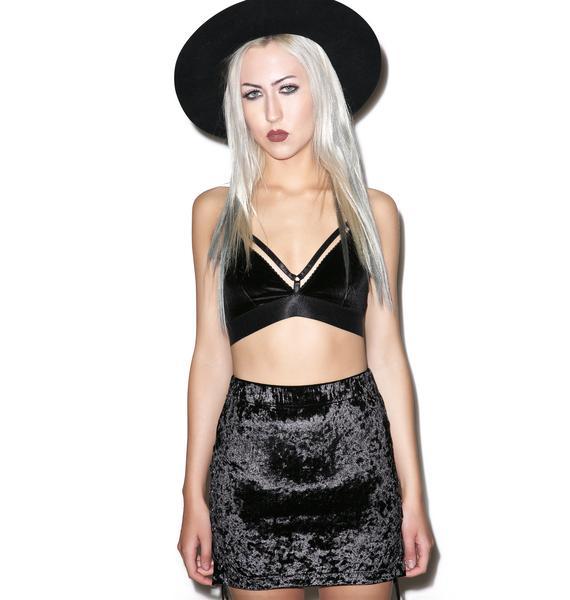24HRS Ebony Velvet Crush Side Up Skirt