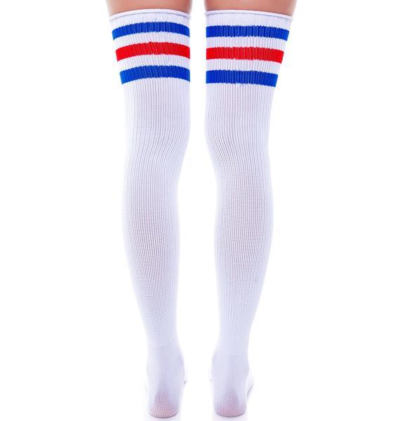 On Track Striped Knee Socks