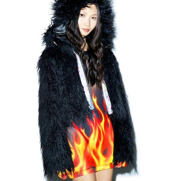 24HRS X Dolls Kill Faux Fur Dark Phenomena Coat