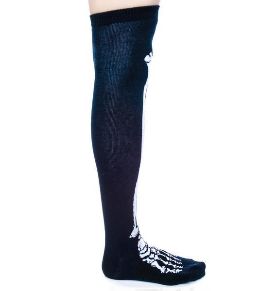 Sourpuss Clothing Skelly Bone Knee Socks