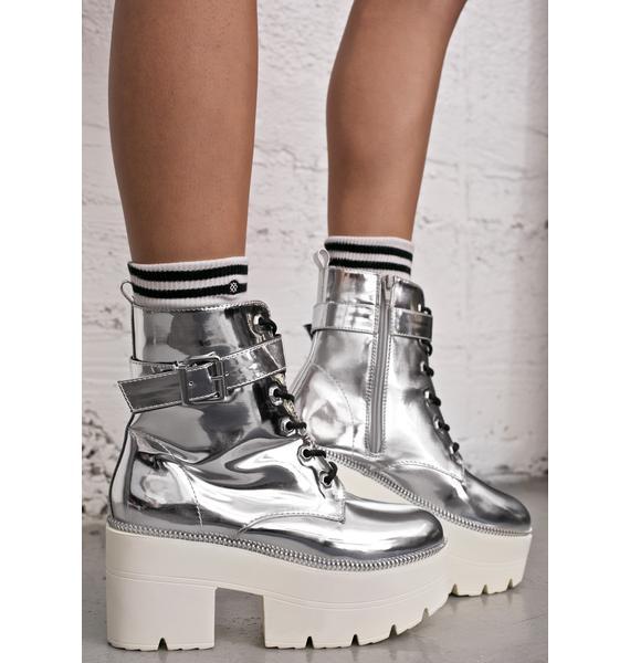 Cyber Metallic Regime Platform Boots