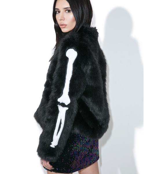 Iron Fist Bone In Faux Fur Jacket