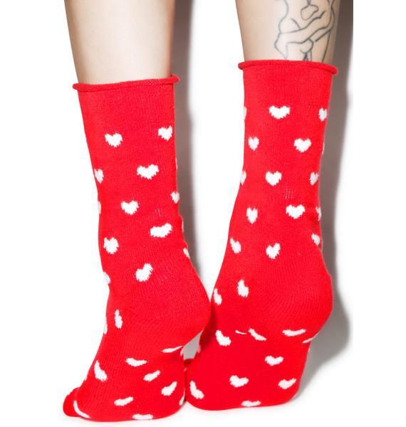 Plush Heart U 4ever Fleece Socks